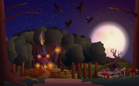 create  witchs house scene  gradients