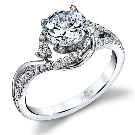 swirling split shank engagement ring in white gold