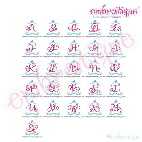 alphabets embroidery fonts bird frame monogram font small sizes embroitique machine