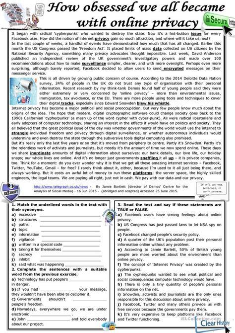 obsessed      privacy worksheet