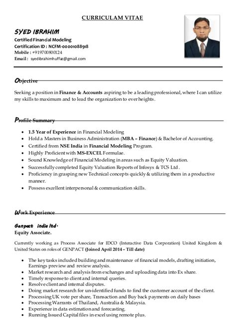 financial modeling skills resume sle resume for