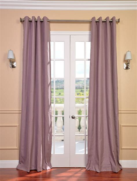 mauve textured linen blend grommet curtain contemporary
