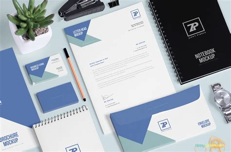 Design Brand by Free Stationery Mockup Generator Zippypixels