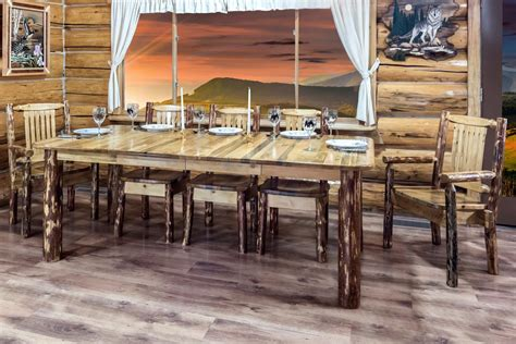 extendable pine log dining table  montana woodworks