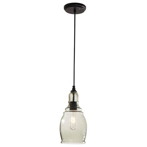 hton bay 1 light black mini pendant 17221 the home depot