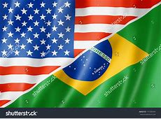Mixed Usa Brazil Flag Three Dimensional Stock Illustration