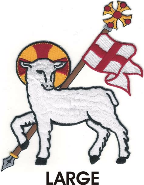 agnus dei amnos toy oeoy lamb  god christian sca embroidered patch ebay