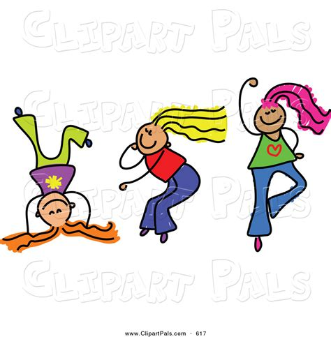 Girls Playing Together Clip Art