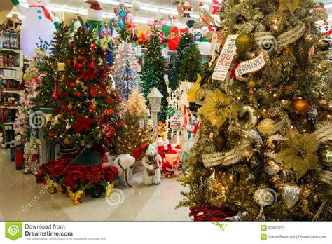 christmas holiday tree display  retail store editorial
