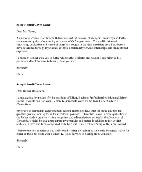 Cover Letter Template Email Format by Sle Resume Cover Letter Format 9 Exles In Word Pdf