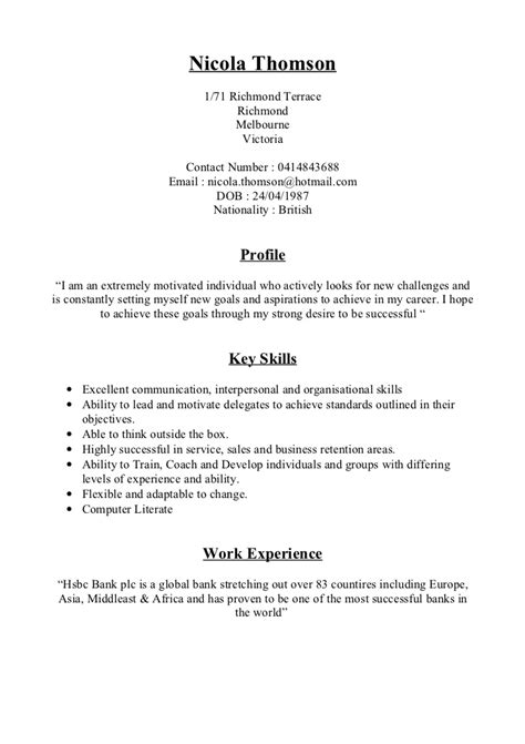 how to set out a resumes nicola thomson cv