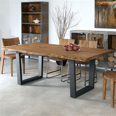 iron and wood dining table sequoia wood iron dining table in light brown humble abode 7585