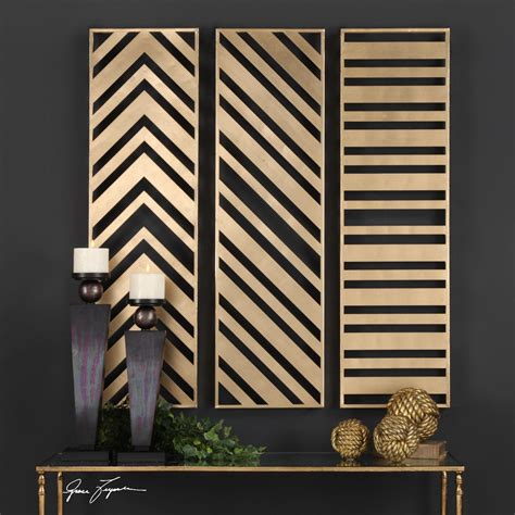 Complete your lake house decor with this wall sign that features a rustic wood slat design with a whimsical message. Zahara Antiqued Gold Contemporary Wall Art Panels, 3-Piece Set in 2020 | Geometric wall art ...