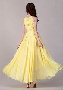 yellow long chiffon dress evening wedding party dress With sundress wedding dresses