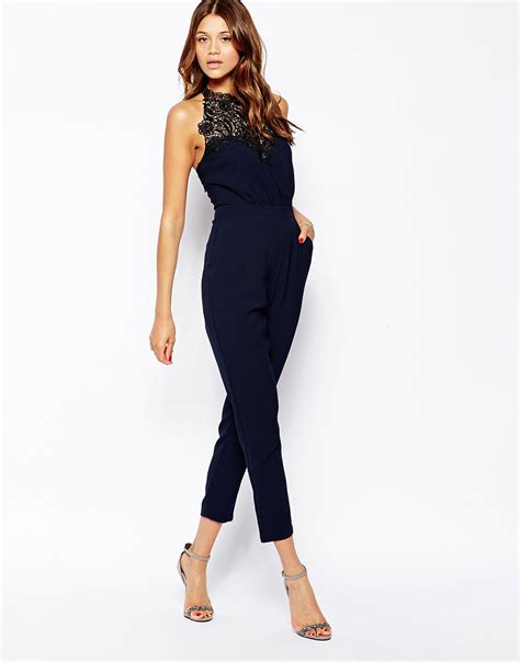 s dress jumpsuits lipsy keegan for lace halterneck jumpsuit in blue