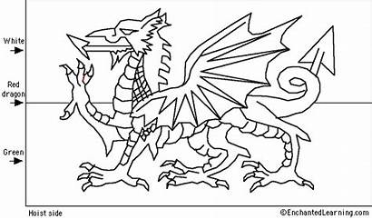 Wales Flag Dragon Coloring Flags Welsh Pages