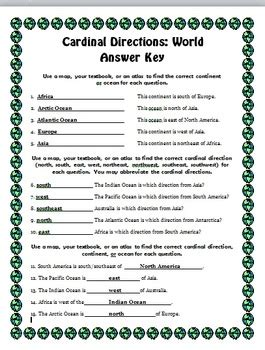 cardinal directions worksheets  holly roberts tpt