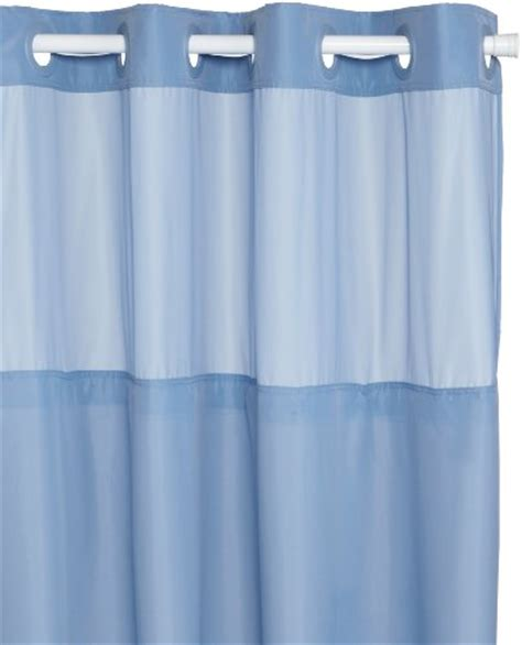 shower curtain hookless fabric w peva liner blue w window