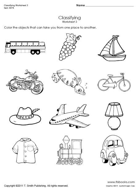 transportation worksheets  preschoolers