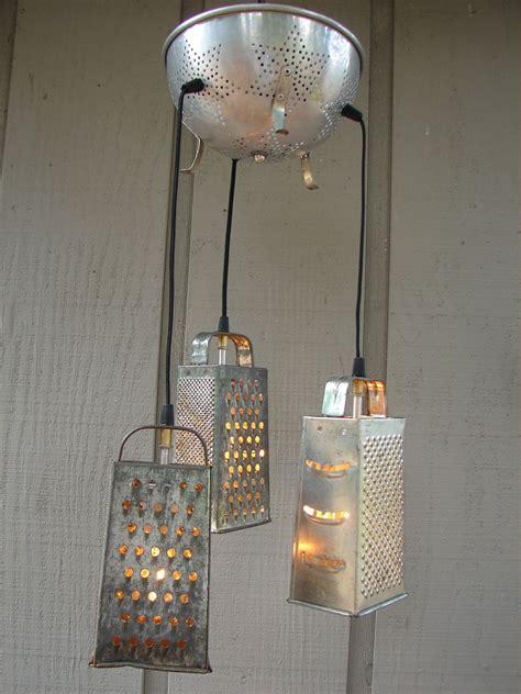 Kitchen Grater Lights by Upcycled Vintage Colander And Grater Pendant Light Home