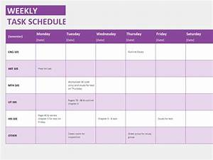 Weekly task schedule templates officecom for Microsoft office weekly schedule template