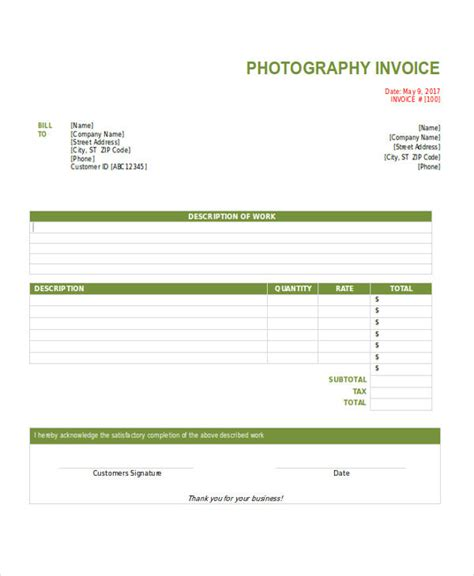 photography invoice examples samples word