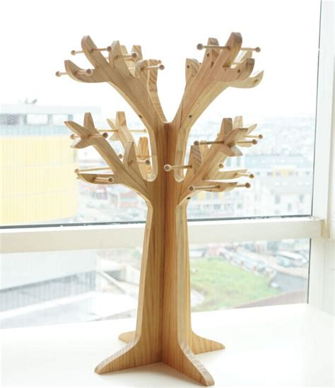 new arrival wooden mug tree holder coffee cup rack 56cups for cafe in cup tumbler holders from