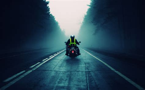 Motorcycle Road Into Fog Desktop Wallpaper