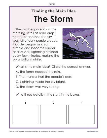 1st or 2nd grade main idea worksheet about storms let read second graders main idea