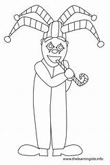 Jester Clown Outline Coloring Flashcard sketch template