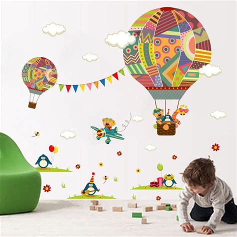 colorful hot air balloon wall sticker  kids rooms wall