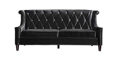 Armen Living Barrister Sofa by Armen Living Barrister Velvet Sofa Black Lc8443black