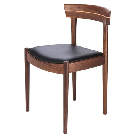 connor mid century modern walnut black leather dining