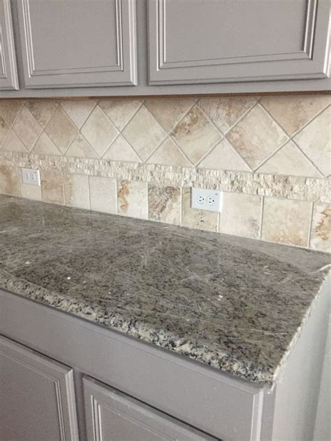 gray kitchen cabinets travertine backsplash santa