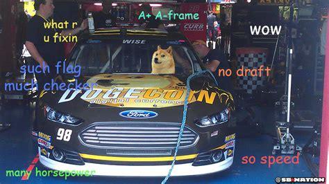 dogecoin car   nascar garage