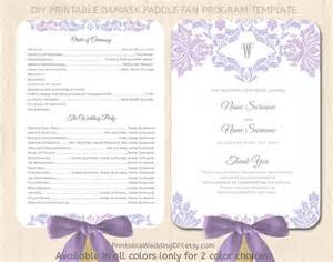 wedding program fans diy lavender lilac paddle fan program template by