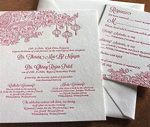 elegant floral paisley red letterpress multicultural With hindu religious wedding invitations