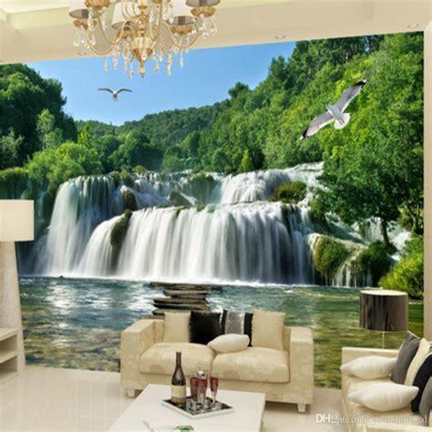 custome photo  wall mural landscape waterfall sofa tv