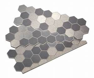 Peel and stick Honeycomb style metal tiles in Carbon ...
