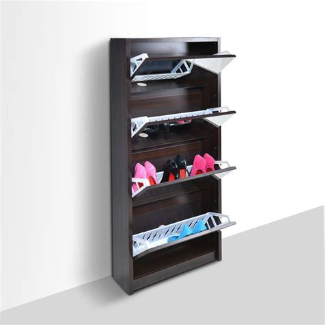space saving shoe storage cabinet space saving 4 door black portable mirrored shoe rack