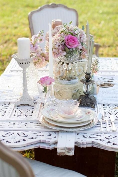 shabby chic table decorations wedding pink shabby chic wedding table setting 2032820 weddbook
