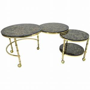 solid brass and gold flecks glass faux bamboo nesting With gold brass coffee table