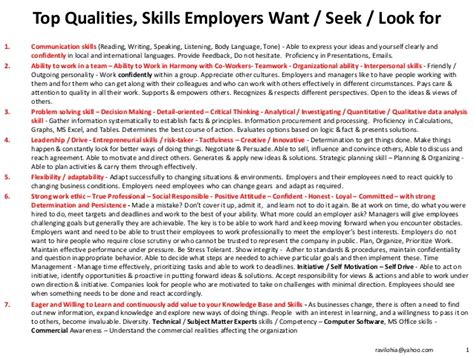 top qualities skills employers want seek look for
