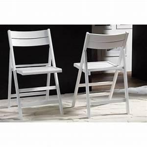 Chaise En Bois Blanc : chaises pliantes tables et chaises lot de 2 chaises pliante robert blanche inside75 ~ Teatrodelosmanantiales.com Idées de Décoration