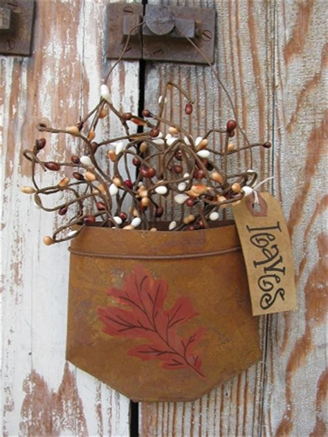 primitive autumn fall leaf rusty tin hanging pocket