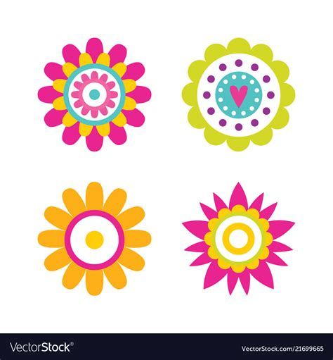 Abstract Flower Shapes by Geometric Shape Flowers And Dots Abstract Vector Image