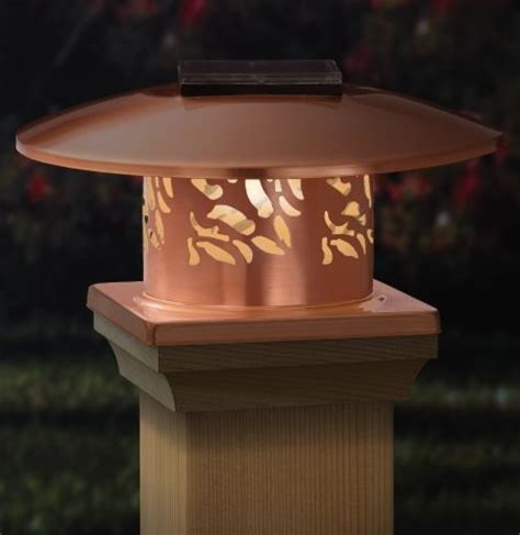solar deck cap lights copper solar post cap light beautiful solar lights for