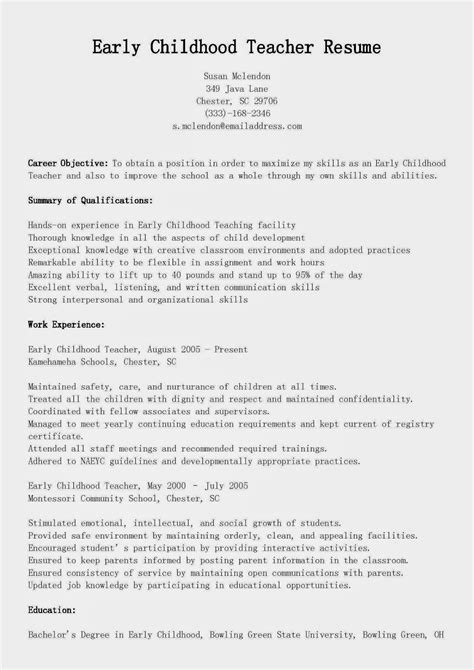 Early Childhood Resume Objective by Resume Sles Early Childhood Resume Sle