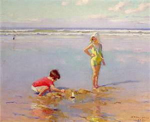 Children On The Beach Painting by Charles-Garabed Atamian