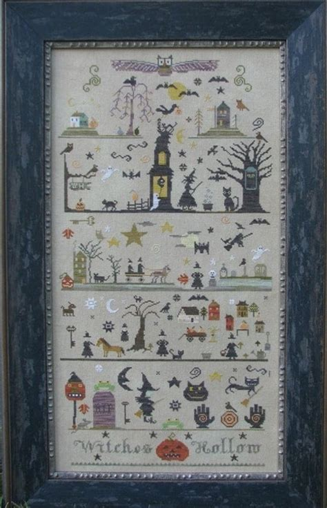 witches hollow counted cross stitch pattern   primitive